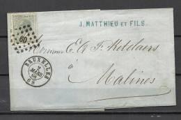 Nr 17 Op Brief Van Bruxelles Naar Malines 02/03/1868 - L 60 Bruxelles (GA5033) - 1865-1866 Profil Gauche