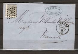 Nr 17 Op Brief Van Anvers Naar Tamise 10/04/1869 - L 12 Anvers (GA5063) - 1865-1866 Linksprofil