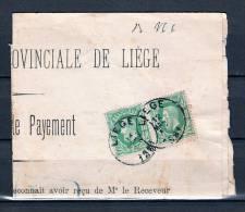 Nr 30 Op Briefstukje (Quittance De Payement) Van Liege Naar Dolhain-Limbourg 12/03/1881 (GA5157) - 1869-1883 Léopold II