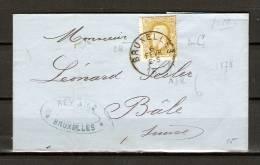 Nr 32 Op Brief Van Bruxelles Naar Bâle (Suisse) 06/02/1878 (GA5364) - 1869-1883 Léopold II