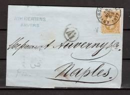 Nr 32 Op Brief Van Anvers (Station) Naar Naples (Italie) 28/03/1877 (GA5372) - 1869-1883 Leopold II