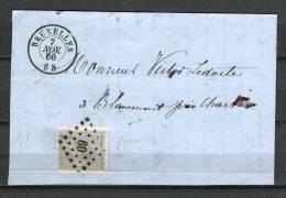 Nr 17 Op Briefstukje Van Bruxelles Naar Blammont 07/11/1866 - L 60 Bruxelles (GA5106) - 1865-1866 Linksprofil