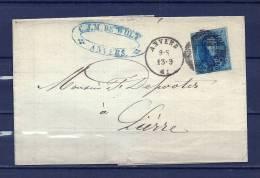 Nr 11 Op Brief Van Anvers Naar Lierre 13/09/1861 - P 4 Anvers (GA6261) - 1858-1862 Médaillons (9/12)