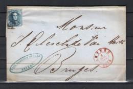 Nr 7 Op Brief Van Anvers Naar Bruges 03/07/1854 - P 4 Anvers (GA6294) - 1851-1857 Médaillons (6/8)
