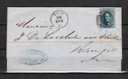Nr 11 Op Brief Van Gand Naar Bruges 21/06/1861 - P 45 Gand (GA6299) - 1858-1862 Medallions (9/12)