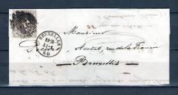 Nr 10 Op Brief Van Bruxelles Naar Bruxelles 11/01/1860 - P 24 Bruxelles (GA6352) - 1858-1862 Médaillons (9/12)