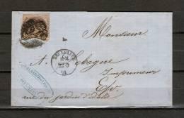 Nr 10 Op Brief Van Bruxelles Naar Bruxelles 22/03/1861 - P 24 Bruxelles (GA6442) - 1858-1862 Médaillons (9/12)