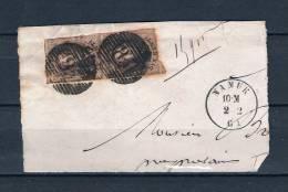 Nr 10 Op Briefstukje Van Namur 02/02/1861 - P 85 Namur (GA6457) - 1858-1862 Médaillons (9/12)