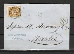 Nr 32 Op Brief Van Anvers (Station) Naar Naples (Italie) 21/10/1876 (GA5368) - 1869-1883 Leopold II.