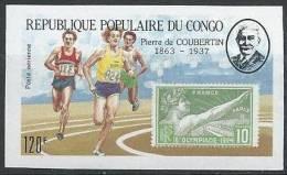 10 C. Jeux Olympiques De Paris En 1924 Sur Timbre Non Dentelé Du Congo Avec Pierre De Coubertin - Summer 1924: Paris