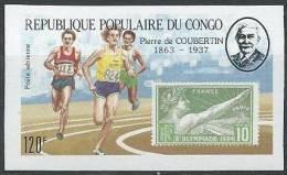 FRANCE - 10 C. Jeux Olympiques De Paris En 1924 Sur Timbre Non Dentelé Du Congo Avec Pierre De Coubertin - Summer 1924: Paris