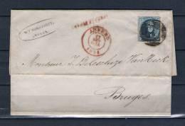Nr 7 Op Brief Van Anvers Naar Bruges 17/10/1851 - P 4 Anvers (GA6335) - 1851-1857 Medallions (6/8)