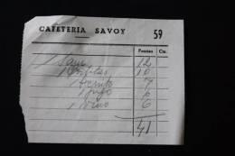 Facturas Facture Menu Cafétéria Savoy  Espagne España 25/12/1954 - Facturas & Documentos Mercantiles