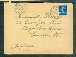 LETTRE AFFranchie Par 20 Centimes Semeuse Foncé Sur Lettre Pour L´angleterre En 1912  ( Contient Misive ) - Lh11344 - Postal Rates