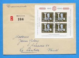 Suisse, Switzerland, Schweiz,  R-Brief. Mit Block Pro Patria 1960 Mit Stempel Hölstein  / Le Sentier - Suisse