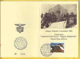 "1993 -  ITALIA -  CARTOLINA - CENTENARIO CAPANNA OSSERVATORIO ""REGINA MARGHERITA"" 04.09.1993 - 1991-00: Storia Postale"