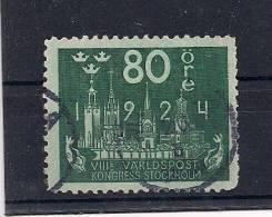SUECIA, 1924, YVERT 174 CIRCULADO, 80 ÖRE, 8º CONGRESO DE LA UNIÓN POSTAL UNIVERSAL, ALTO VALOR - Suecia