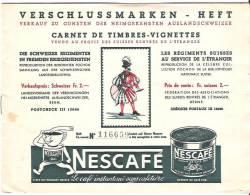Verschlussmarken-Heft  Schweizer Regimenter (Collection Pochon) NESTLÉ-CAILLER - Vignettes De Fantaisie