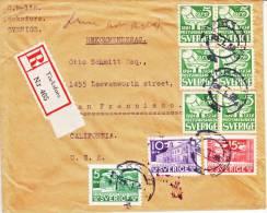 Sweden  Registered Cover To U.S. - Suède