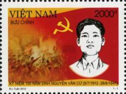 Vietnam 2012: 100th Birth Anniversary Of Nguyen Van Cu (09/7/1912 – 28/8/1941) - Mint NH - Famous People