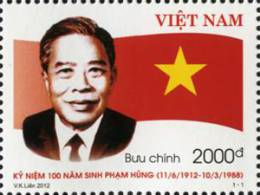 Vietnam 2012: 100th Birth Anniversary Pham Hung - Mint NH - History