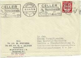 CHEVAL + ALLEMAGNE = HANNOVER 1934 = CACHET Mécanique Illustré SUPERBE = CELLER HENGSTPARADE - Horses