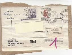 A1821 - 100£ Mich. + 20£ Giordano Su Fascetta Raccomandata  VG Novara-Torino 22-09-1967 - 1961-70: Storia Postale