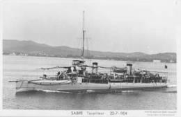 Torpilleur SABRE (Marine Nationale) - Carte Photo éd. Marius Bar - Ship/bateau/schiff - Guerra