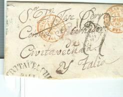 CARTA DE MAR, Granada, Madrid, Marsella, Civitavecchia Italia, DATE 1865, Tributan Al Principio, Texto En Español, - 1850-68 Regno: Isabella II