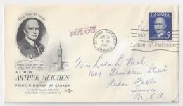 Canada 1961 FDC Commemorating Arthur Meighen Scott 393 Artcraft - First Day Covers