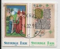 SWEDEN - NOËL 1976 - ENLUMINURES MEDIEVALES - Yvert # 948b - SE-TENANT PAIR - VF USED - Oblitérés