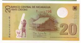 Nicaragua 2010 Polymer Banknote 20 Cordobas - Local Hut - Atlantic Coast Dance - Round Transparent Window - Nicaragua