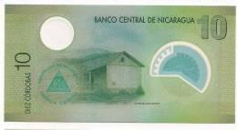 Nicaragua 2010 Polymer Banknote 10 Cordobas - El Castillo Fort - Round Transparent Window - Nicaragua