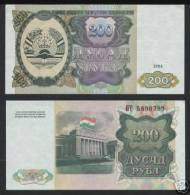 * TAJIKISTAN - 200 RUBLES 1994 UNC - P 7 - Tayikistán