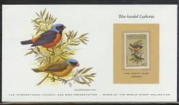 Mkt023kb FAUNA VOGELS BIRDS EUPHONIA BIRD PRESERVATION VÖGEL AVES OISEAUX GRENADA GR. KAART CARD WITH STAMP 1980 PF/MNH - Birds