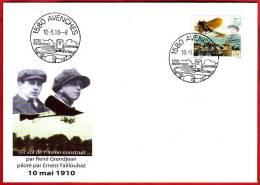 Centenaire Vol Commémoratif, 1er Vol De L´avion René Grandjean Piloté Par Ernest Failloubaz. - Airmail