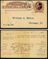 A1323) USA Ganzsachenkarte One Cent Mit Vordruck 1886 Gebraucht Used