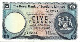 UNITED KINGDOM SCOTLAND 5 POUNDS BLUE EMBLEM ROYAL BANK FRONT CASTLE BACK DATED 03-5-1976 P327a READ DESCRIPTION !! - 5 Pounds