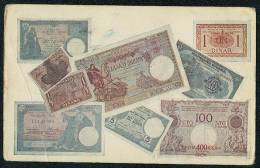 Banknotes Of Kingdom Of Yugoslavia On Front Side Of Postcard. - Monete (rappresentazioni)