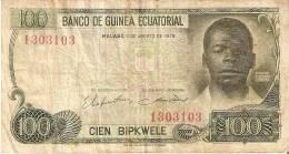 BILLETE DE GUINEA ECUATORIAL DE 100 BIPKWELE DEL AÑO 1979  (BANKNOTE) RARO - Guinea Ecuatorial