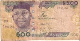 BILLETE DE NIGERIA DE 500 NAIRA DEL AÑO 2007 (BANKNOTE-BANK NOTE) - Nigeria