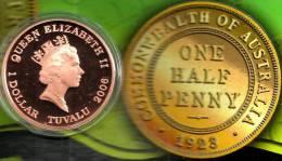 TUVALU $1 DOLLAR  AUSTRALIA COIN 1/2 PENNY 1923 FRONT QEII HEAD BACK 2006 AG SILVER PROOF READ DESCRIPTION CAREFULLY !!! - Tuvalu