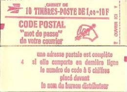 """CARNET 1892-C 2a Marianne De Béquet """"CODE POSTAL"""" Daté 3/8/76 Fermé Conf. 4 Gomme Mate Parfait état Bas Prix RARE - Freimarke"""