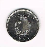 MALTA  10 CENTS 1991 - Malte
