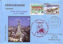 Erstflugpost - Ryanair - Bratislava - Bremen - 25.09.2007 [ds11] - Ganzsachen