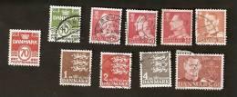 OS.29-5. Denmark, LOT Set Of 10 - 1948 Kongelic Post 1963 1965 Frederik IX 1967 1971 1972 10 60 30 35 Ore 1 Kr 2 Kr 4 Kr - Dinamarca