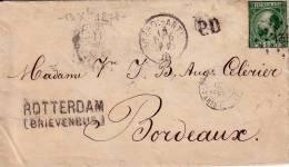 PAYS-BAS - N°10 20c VERT SUR LETTRE POUR LA FRANCE DU 13-12-1872. - Marcophilie