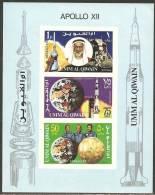 Umm Al-Qiwain 1969 Souvenir Sheet Mi# Block 19 ** MNH - 2nd Manned Moon Landing - Apollo 12 - Umm Al-Qaiwain