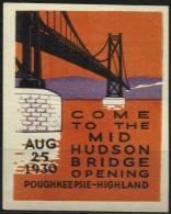 Vignette Pour L´inauration Du Pont Suspendu De Poughkeepsie Sur L´Hudson Le 25-08-1930 - Variétés, Erreurs & Curiosités