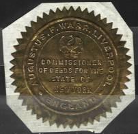 Sceau D´Augustus Warr, Commissioner De L´état De New York à Liverpool (USA) - Historical Documents